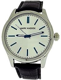 Mark Maddox de caballero con esfera plateada y de color negro y PU Croc-efecto de la correa de un reloj HC3002-17