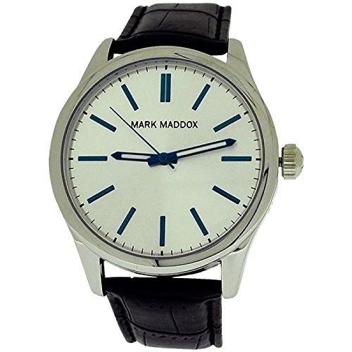 Mark Maddox Gents Silvertone Dial & Black PU Croc-Effect Strap Watch HC3002-17