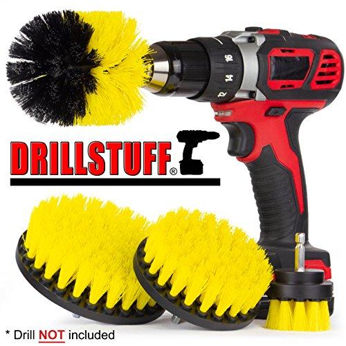 Drillstuff 4 Stück Power-Bürste Kit für Fliesen und Fugen, Badewanne, Dusche, Waschbecken, Porzellan, Dusche Tracks, Und Um Fixtures gelb schwarz