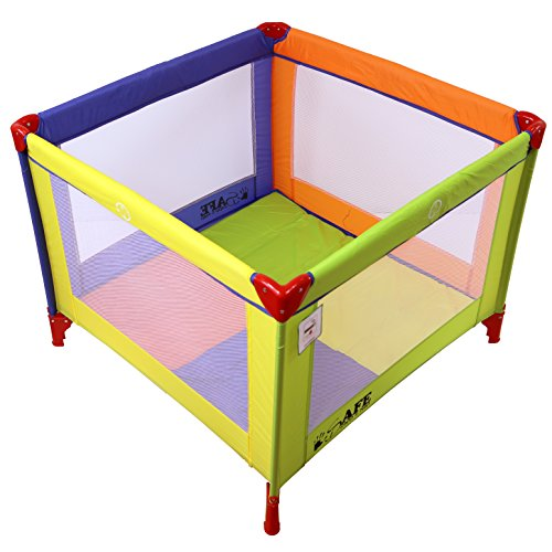 iSafe Zapp And Nap 101cm x 101cm Luxury Square Travel Cot Playpen Mixed Color (Multicolored) 51eLCkA8vtL