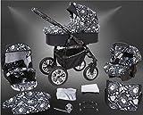 Milk Rock Baby Macano S Kinderwagen Safety-Mega-Set (Winterfußsack, Sonnenschirm, Autositz & ISOFIX Basis, Regenschutz, Moskitonetz, Schwenkräder) MO67 Black/Schwarz & Totenkopf
