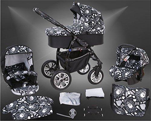 Milk Rock Baby Macano S Kinderwagen Safety-Sommer-Set (Sonnenschirm, Autositz & ISOFIX Basis, Regenschutz, Moskitonetz, Schwenkräder) MO67 Black/Schwarz & Totenkopf