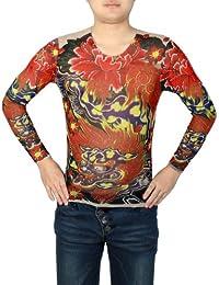S Rond Cou Motif Floral serré Tatouage T-Shirt Rouge Bleu pour hommes