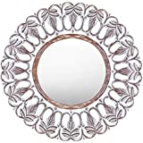Meher Creation Silver Color Round Frame Floral Pattern Wooden Hand Carved Wall Mirror/Makeup Mirror/Decorative Wall Mirror (Size :- 36 X 36 X 1 Inches)