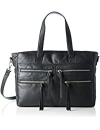 PIECES Pclaos Leather Bag, Sacs portés épaule femme, Schwarz (Black), 12x22x35 cm (L x H P)