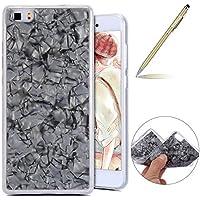 Herbests Huawei P8 Lite 2016 Handyhülle Glitzer Glitter Luxus Bling Glänzend 3D Geometrisches Transparent TPU Silikon Schutz Handy Hülle Handytasche Silikon Case Durchsichtig Tasche,Schwarz