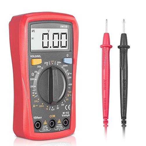 Multímetro digital profesional, Synerky DM33B 2000 Counts Corriente AC Voltaje Resistencia Diodo Prueba de la batería Mini Multímetro Portátil Medidor,Retroiluminación LCD Medidores de medida medida total palma