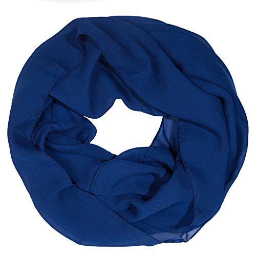 MANUMAR Loop-Schal für Damen einfarbig | feines Hals-Tuch in Blau als perfektes Herbst Winter Accessoire | Schlauch-Schal | Damen-Schal | Rund-Schal | Geschenkidee für Frauen und Mädchen