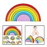 DMZK 7 Colori Legno Arcobaleno Blocchi,Giocattoli Educativi in Legno per Bambini Legno Impilabile Arcobaleno Forma