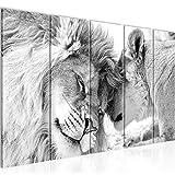 Bilder Löwen Liebe Wandbild 150 x 60 cm Vlies - Leinwand Bild XXL Format Wandbilder Wohnzimmer Wohnung Deko Kunstdrucke Weiß 5 Teilig - MADE IN GERMANY - Fertig zum Aufhängen 002156c