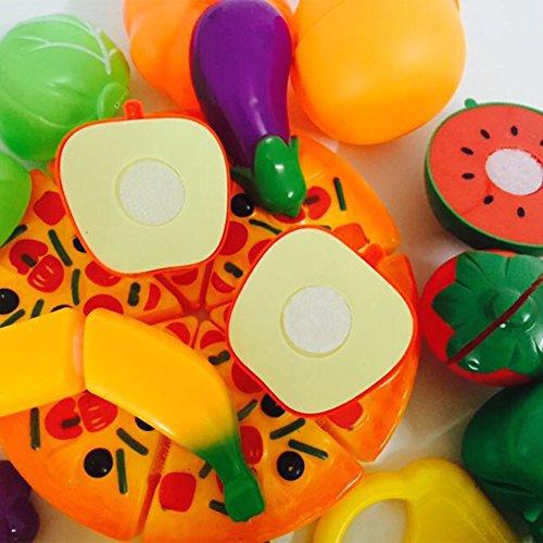Zantec 27 Pcs Plastic Cutting Früchte und Gemüse Set Bunte Play Food Set für Pretend Play für Kinder