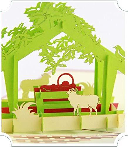 dgemachte 3D Pop Up Karte Baby Jesus Geboren Weihnachtskrippe Weihnachtskarte Papercraft Religiöse Christian Catholic Geschenk ()