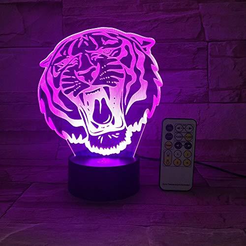 Lion Tiger Night Light Telecomando Tocco Decorazione animale Giocattolo leggero Regalo Regalo Luminoso Flash Cambia colore Regalo
