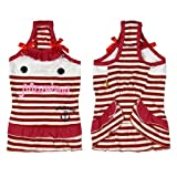 Rot Gestreift Haustier Hund Hundebekleidung Bekleidung Tank Top-Kleid Shirts Größe L