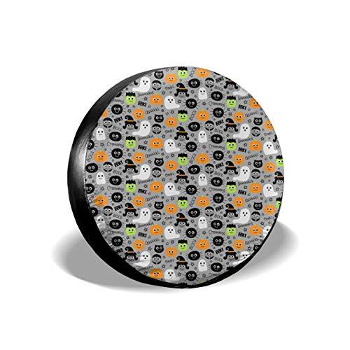 Sula-Lit Auto-Reifen- und Radabdeckungen, für kleine Halloween, auf hellgrauem Ersatzreifen, passend für Jeep Camper Wohnmobil SUV LKW Radschutz-Zubehör, 35,6 cm (14 Zoll) (Halloween Wetter Auf)