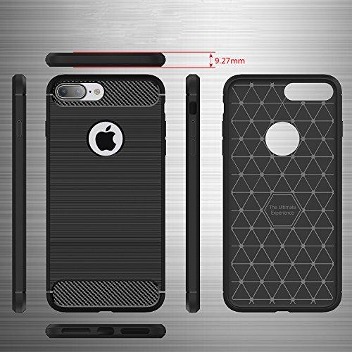 tinxi® Coque Apple iPhone 7 Plus 5,5 Pouces Coque de protection en silicone TPU Housse Case Etui Cover Protection/Noir Noir/Carbone fibre