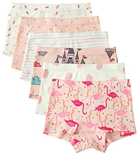 6 Pack Kleines Mädchen Kurzärmelig Unterwäsche Baumwolle Baby Mädchen Höschen Kleinkind Mädchen Unterhosen, Flamingo, 5-6 Jahre / Taille 46 cm, Höhe 120-130 cm