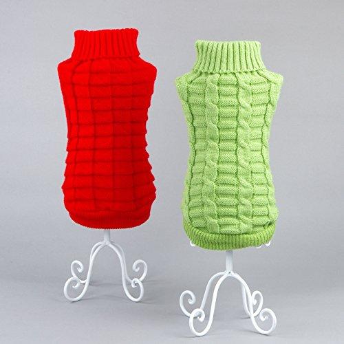 ndewarmes Jumper-klassisches Vlies Warme Pullover Kleidung Welpen Katze Strickmode Bekleidung für Mittel Große Hunde (XS Zurück Länge: 17-18cm, Grün) (Zurück Bekleidung)
