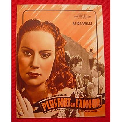 Dossier de presse de Plus fort que l'amour (1940) - 31x24 cm, 4 P – Film de Carmine Gallone avec Alida Valli, Amedeo Nazzari. – Photos sépia marron - résumé du scénario – Bon état.