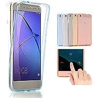 Huawei G8 / GX8 Funda, 2ndSpring 360 Grados Doble Delantera + Trasera De Gel Integral Silicona TPU Carcasa Case Cover para Huawei G8 / GX8,Azul