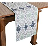 """Bilberry Furnishing By Preeti Grover 100% Cotton White & Sea Green Printed Table Runner (TR_25) - (Table Runner Size 14""""x72"""")"""