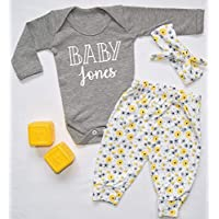 5db784299ae8a Personalised Baby Surname Baby Vest Pants and Headband Set Babygrow New Baby  Gifts Newborn baby Gifts