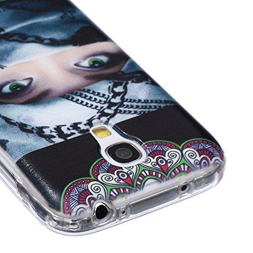 Ekakashop Coque pour Samsung Galaxy S4 Mini I9190, Ultra Slim-Fit Flexible Souple Housse Etui Back Case Cas en Silicone pour Galaxy S4 Mini, Soft Cristal Clair TPU Gel imprimée Couverture Bumper de Pr Femme foulard enroulé
