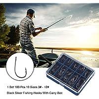 Caja de 100anzuelos de pesca, afilados, incluye 10 compartimentos, tamaños 3, 4, 5, 6, 7, 8, 9, 10, 1112