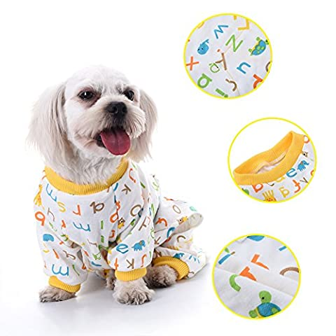 Sweats à Capuche de Chein Pet Dog Cat Letter Pattern Pyjamas en Coton Leisure & Durable Pet Jumpsuit by Awhao M