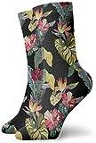 YJWLO Calcetines de cuello redondo con diseño de hibisco y hojas, estilo hawaiano, unisex, de moda, informal, 30 cm