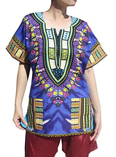 RaanPahMuang African Bright Ankara Dashiki Art Print Tie Dye Shirt mit Taschen