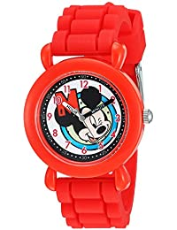 Disney Boy's 'Mickey Mouse' Quartz Plastic and Silicone Casual Watch Color:Red (Model: WDS000144)
