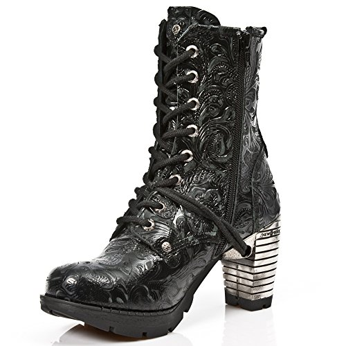 New Rock Womens M.TR001-S24 Vintage Flower Leather Boots Black
