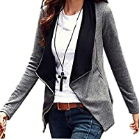 Minetom Donna Maniche Lunghe Cardigan Breve Blazer Cappotto Coat Jacket Giacca Outwear