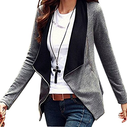 Minetom Donna Maniche Lunghe Cardigan Breve Blazer Cappotto Coat Jacket Giacca Outwear Grigio IT 40