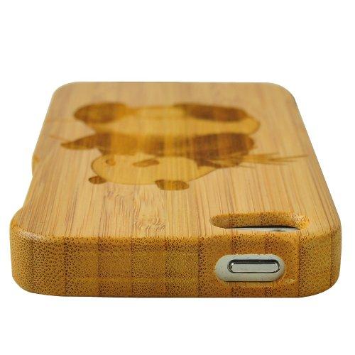 SunSmart Einzigartige handgefertigte Bambus harten Holz Case für das iPhone 5 5S (ein Stück) panda