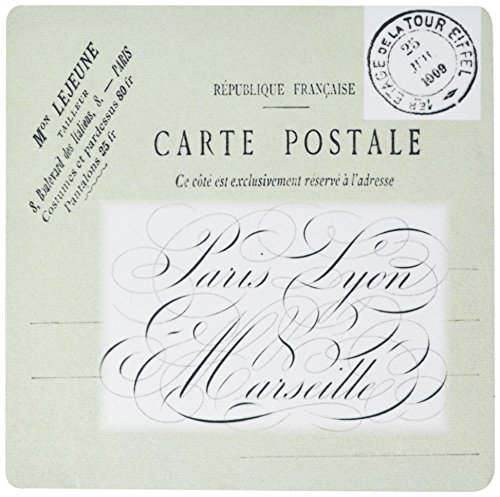 3drose LLC 20,3x 20,3x 0,6cm Maus Pad, Print of Postkarte Porto und Typografie Frankreich 1909–(MP _ 182571_ 1)