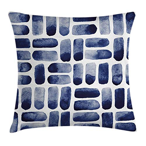 Dark Blue Throw Pillow Cushion Cover, Watercolor Brush Strokes Uneven Spots Stains Texture Abstract Hand Drawn Art, Decorative Square Accent Pillow Case, 20 X 20 inches, Dark Blue Dust High Carbon No Stain