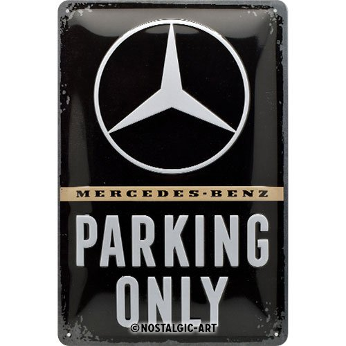 Mercedes-Benz - Parking Only  | Retro Blechschild | Vintage-Schild | Wand-Dekoration | Metall | 20x30 cm ()