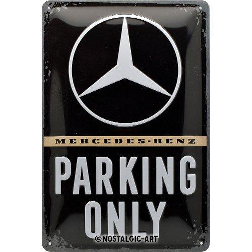 Nostalgic-Art 22276 Mercedes-Benz - Parking Only  | Retro Blechschild | Vintage-Schild | Wand-Dekoration | Metall | 20x30 cm