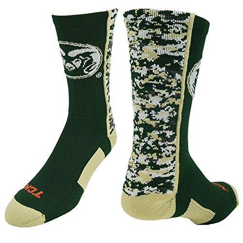 TCK CSU Rams Digital Camo Crew Socken, Jungen damen Mädchen Herren, Dark Green/Vegas Gold/White -