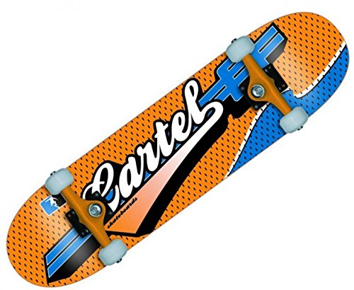 Koston Cartel Skateboard Komplettboard Sports Blue/Orange 7.5 inch - Profi Complete Skateboard Kugellagern