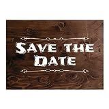 15 x Save the Date Karten mit Umschlag / Weiße Schrift auf Holz / Neutral / Geburtstag / Jubiläum / Einladung / Verkündung