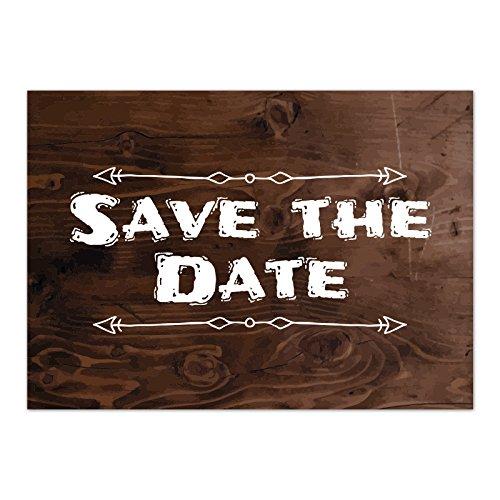 15 x Save the Date Karten mit Umschlag / Weiße Schrift auf Holz / Neutral / Geburtstag / Jubiläum / Einladung / Verkündung (Holz-save The Date)
