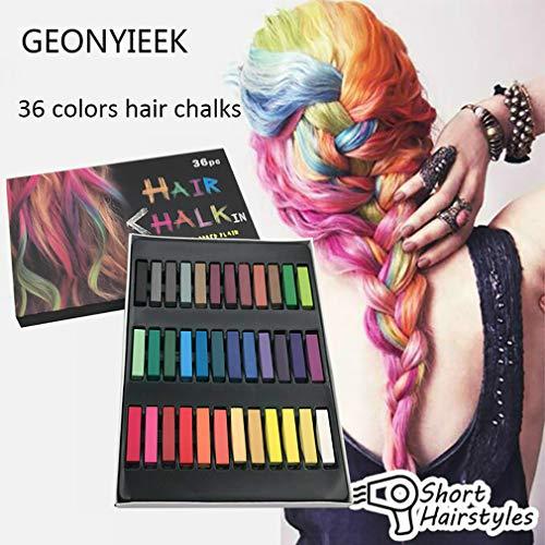 ZUEN 36Coloring Chalk Pens Set, Temporäre Helle Haar-Kreide-Set Ungiftige Für Make-Up Haar-Kreide-Pens Für Mädchen Kinder Erwachsene