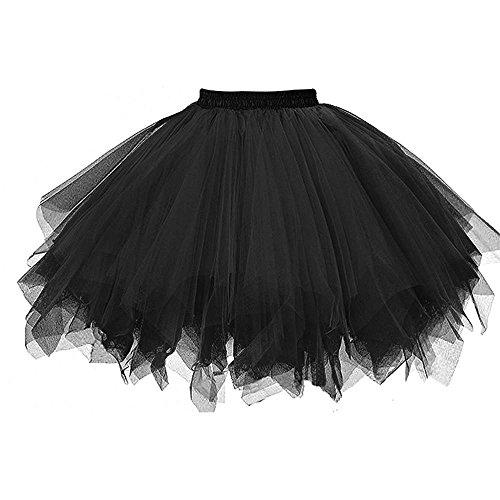 FNKDOR Tüllröcke Petticoat Kurze Damenrock Tutu Rock Ballet Unterkleid Unterrock (Schwarz)