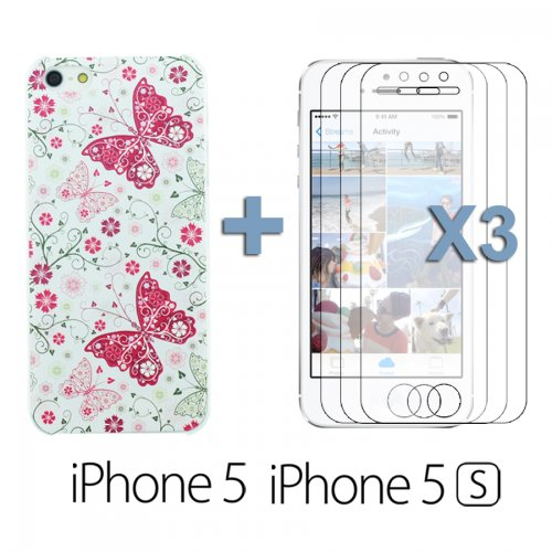 OnlineBestDigital - Carving Design Patterns Plastic Case / Housse pour Apple iPhone 5S / Apple iPhone 5 - Style N avec 3 Film de Protection et Stylet Style F