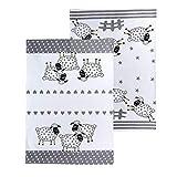 SPOTTED DOG GIFT COMPANY Lot de 2 Torchons de Cuisine, Coton Lavable 50 x 70 cm avec 2 Motifs Moutons, Décoration Cuisine, Cadeau pour Femme Amoureux des Animaux