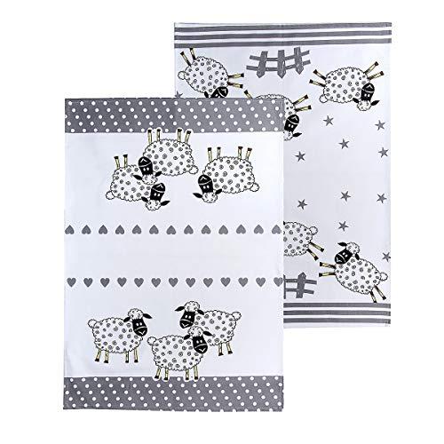 SPOTTED DOG GIFT COMPANY 2er Set Küchentücher Baumwolle, Abtrockentücher Küche, Schwarz und weiß 50 x 70 cm, Schaf-Motiv, Schaf Geschenk für Tierliebhaber