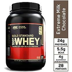 Optimum Nutrition Gold Standard 100% Whey Protéine en Poudre avec Whey Isolate, Proteines Musculation Prise de Masse, Chocolat au Lait, 28 portions, 900 g